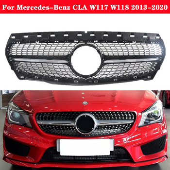 For Mercedes-Benz CLA W117 W118 2013-2020 Car styling Middle grille Diamond GT Silver Black front bumper Auto Center Grille