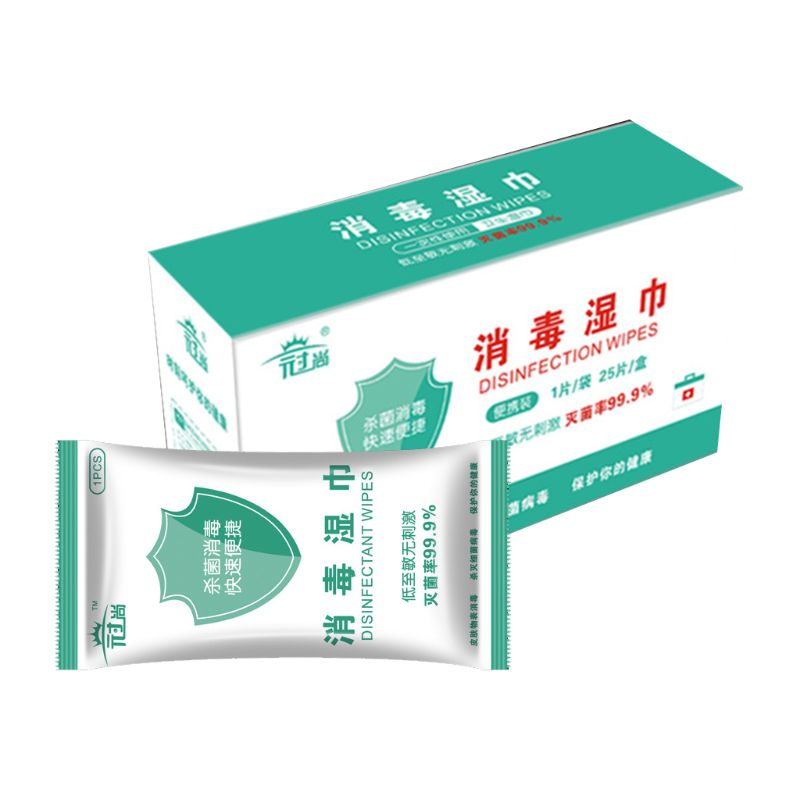 25Pcs/Set Disposable Disinfection Wipes Portable Sterilization Antibacterial Pad X7YB
