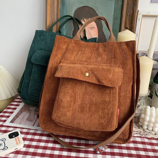 Hylhexyr Corduroy Shoulder Bag Women Vintage Shopping Bags Zipper Girls Student Bookbag Handbags Casual Tote With Outside Pocket 4