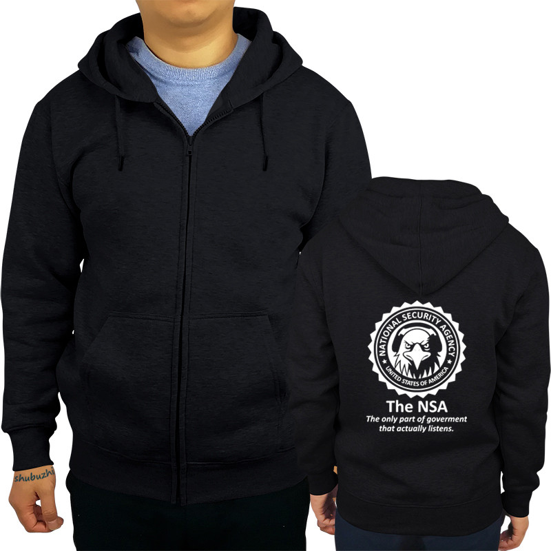 Man Fleece Sweatshirt Hoodies Fall Solid Color Sweatshirt NSA-National-Security-Agency-Logo