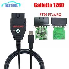 Galletto programador ECU FT232RQ EOBD 1260 FTDI FT232RQ para lectura y escritura de coches, herramienta de diagnóstico OBDII multilingüe