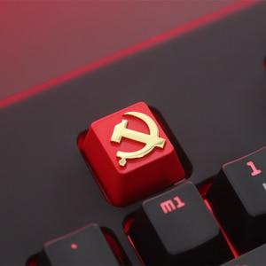 Image 2 - Keycap 1 Pcs Communistische Partij Of Pentagram Gepersonaliseerde Reliëf Zink Aluminium Metal Keycaps Mechanische Toetsenbord R4 Hoogte Knop