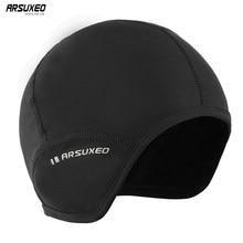 ARSUXEO – casquette de cyclisme en polaire pour homme et femme, coupe-vent, chapeau de sport, vtt, cagoule, crâne de neige, doublure de casque, PT03, hiver