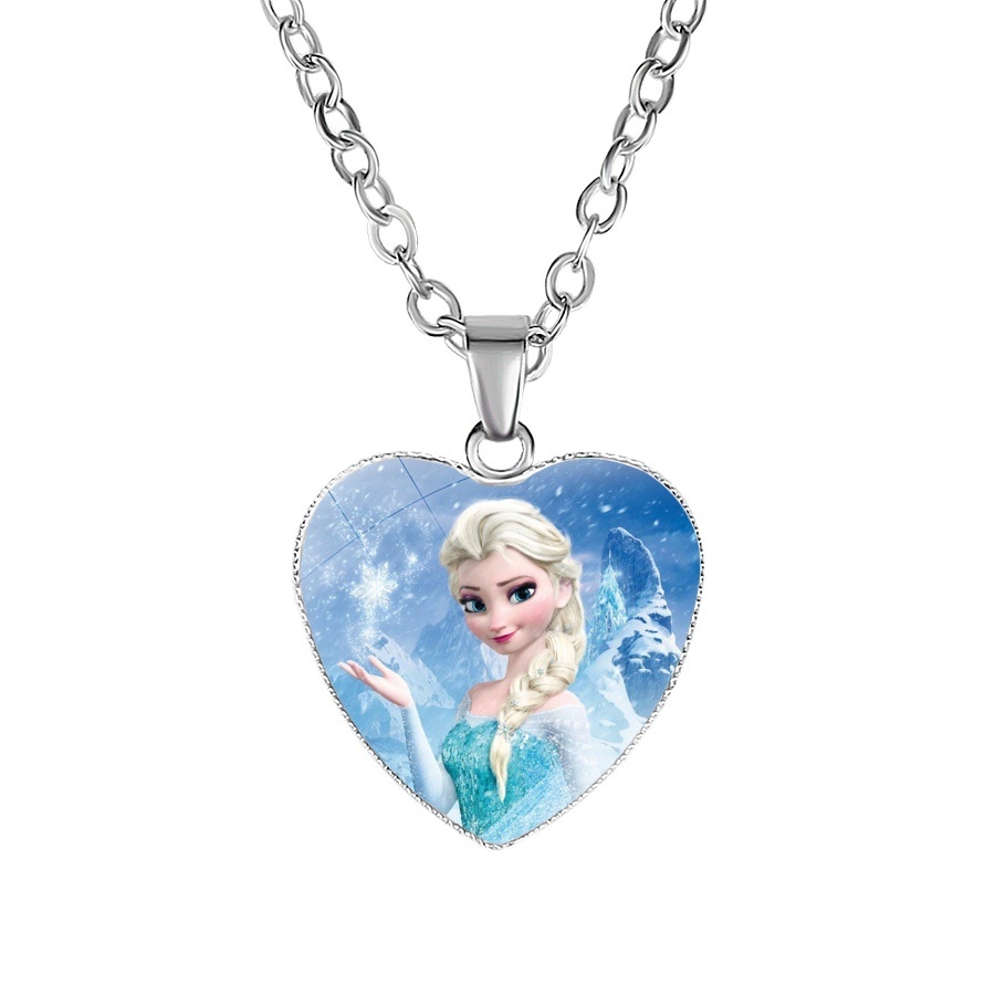 Disney Cartoon Frozen Children Necklace Princess Sofia Bow Doll Accessories Girl Birthday Gift Cosmetic Female Sweater Jewelry