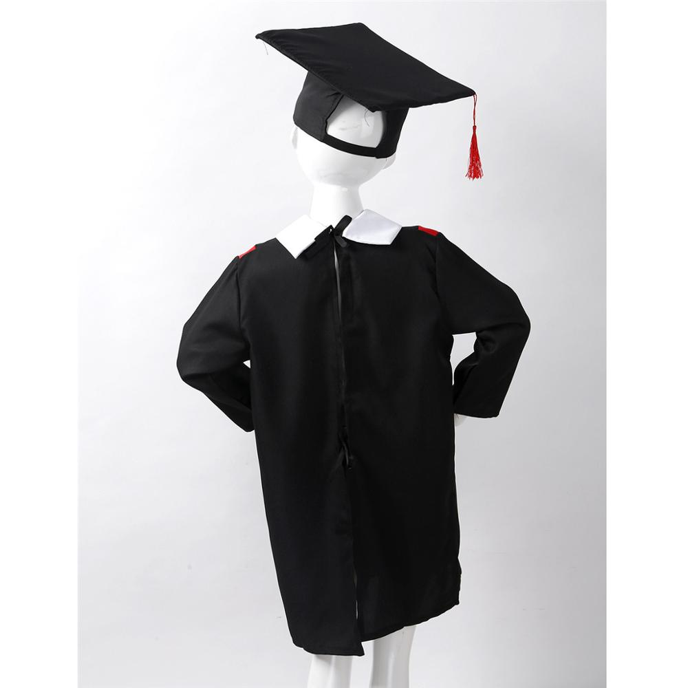 Kid Boys Girls Primary School Graduation Gown+Tassel Cap  Costume Fancy Dress Up