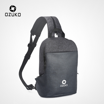 OZUKO Multifunction Chest Pack Men Fashion Crossbody Messenger Bag Male Water Resistant Chest Bags USB Charging Travel Sling Bag
