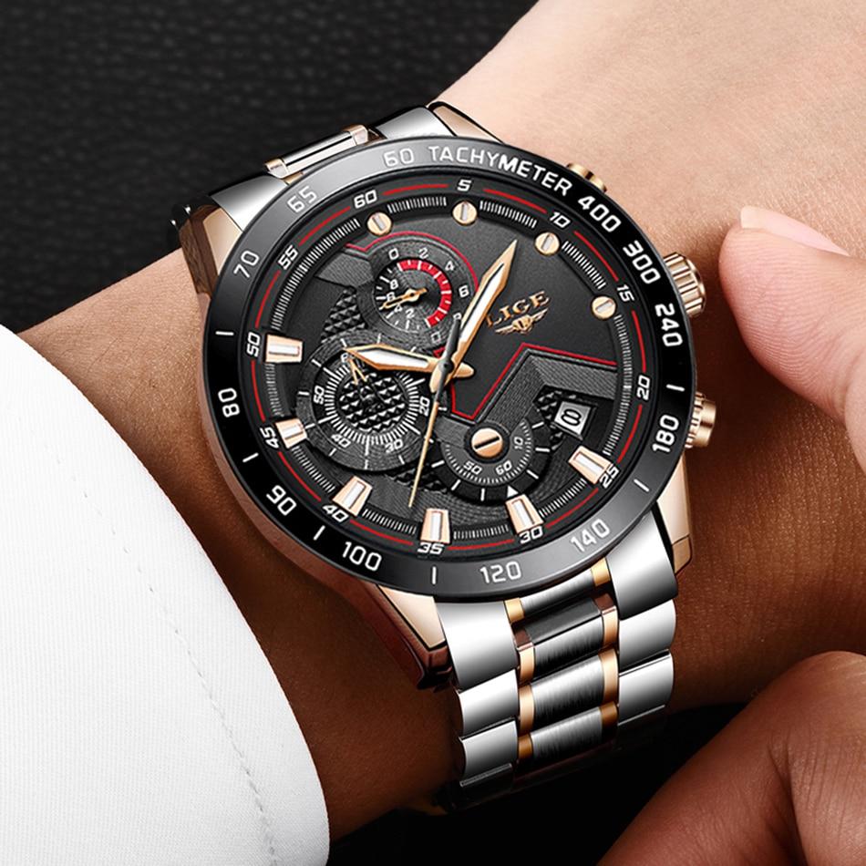 H4bbcd0d2b3f142fd907e2f0b01c74f64v LIGE Men Watches Top Brand Luxury Stainless Steel Blue Waterproof Quartz Watch Men Fashion Chronograph Male Sport Military Watch