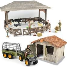Дикий зоопарк большая ферма дом серии 2 фигурки животных фермер заводчик забор корраль корма лошадь стабильные игрушки Детский подарок