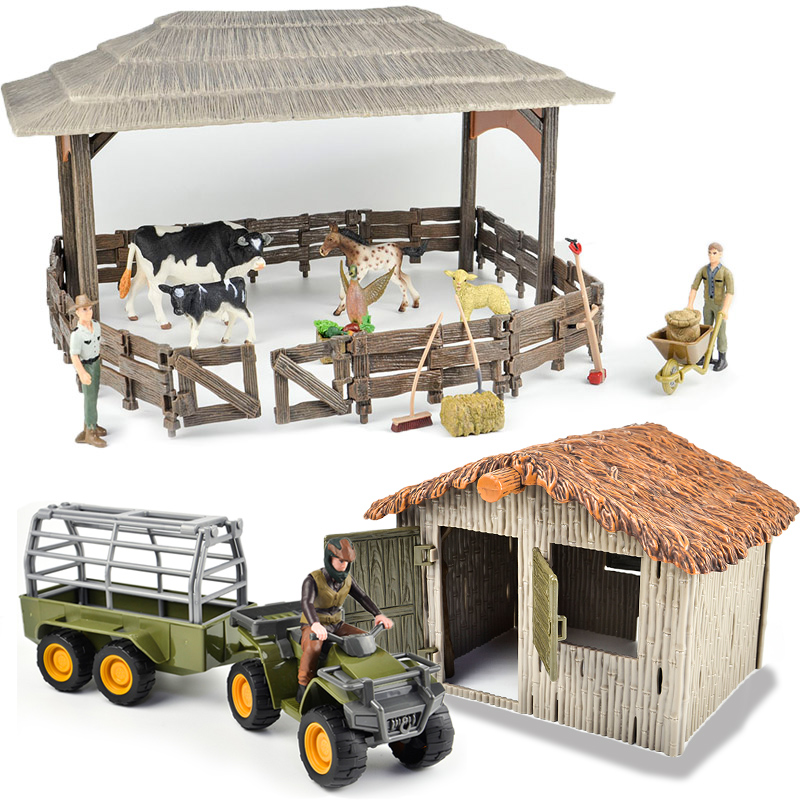 Wild Zoo Large Farm House Series 2 Animals Figures Farmer Breeder Corral Fence Feed Horse Stable Toys Children Gift
