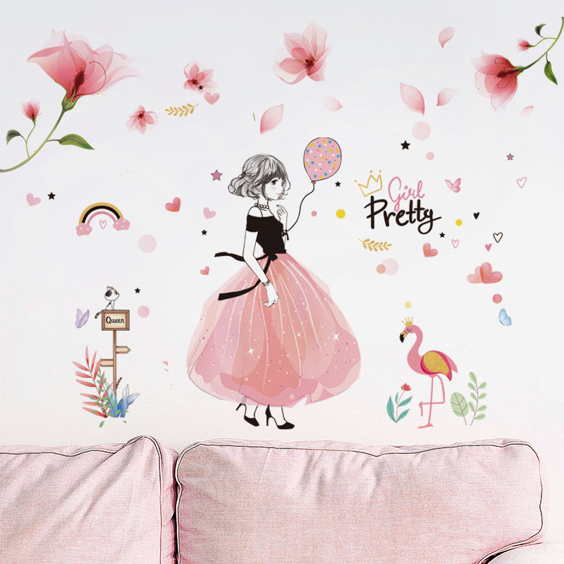 [shijuekongjian] Pretty Girl Wall Stickers PVC DIY Pink Color Flowers Decals for Kids Rooms Baby Bedroom Decoration