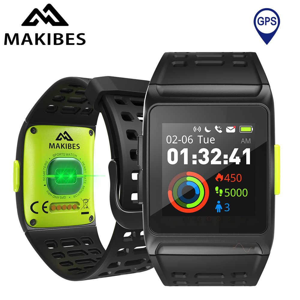 Makibes BR1 GPS EKG PPG Smart Watch Pria Wanita Jam Tangan Pintar Bluetooth Strava Sport Kebugaran Tracker Wearable Perangkat Smart band