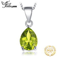 Natural Peridot Pendant Necklace 925 Sterling Silver Gemstones Choker Statement Necklace Women silver 925 Jewelry Without Chain(China)