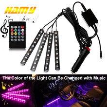 4 Uds coche tira de luz LED RGB USB Diseño Interior lámparas de ambiente decorativas de LED con control remoto controlado por voz ritmo lámpara
