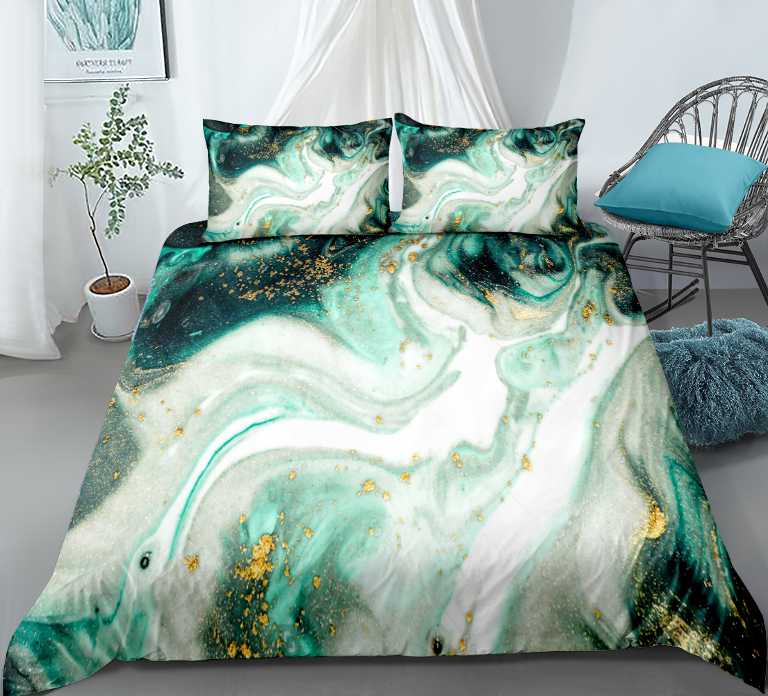 3 Pieces Marble Duvet Cover Set Green Gold Luxury Marble Bedding White Marble Abstract Art Quilt Cover Queen Bed Set Dropship Bedding Sets Aliexpress