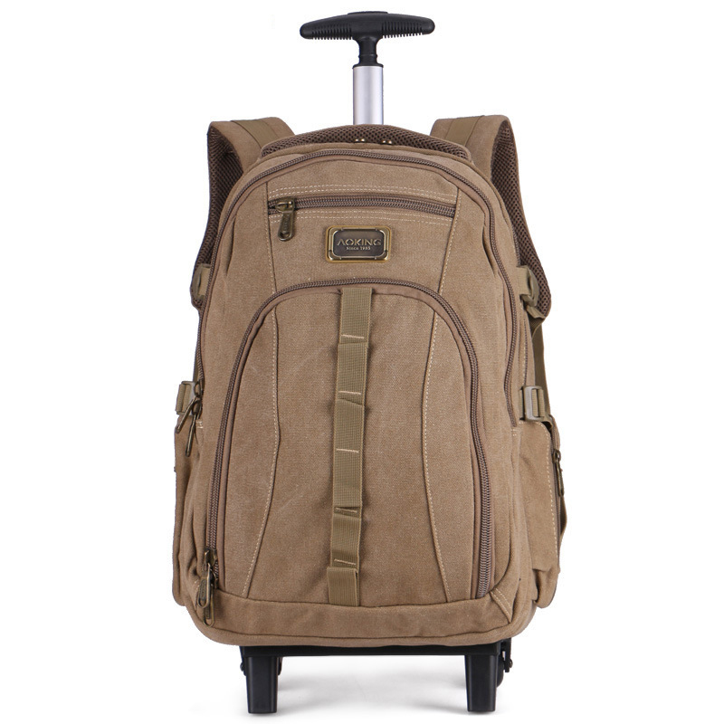 Men Travel canvas trolley bag Rolling Luggage backpack bags on wheels wheeled backpack for Business Cabin carry on suitcase