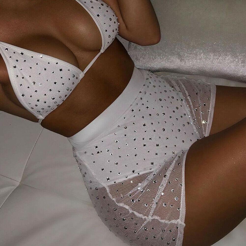Lingerie com lantejoulas renda transparente, conjunto exótico feminino babydoll sutiã com cintura alta