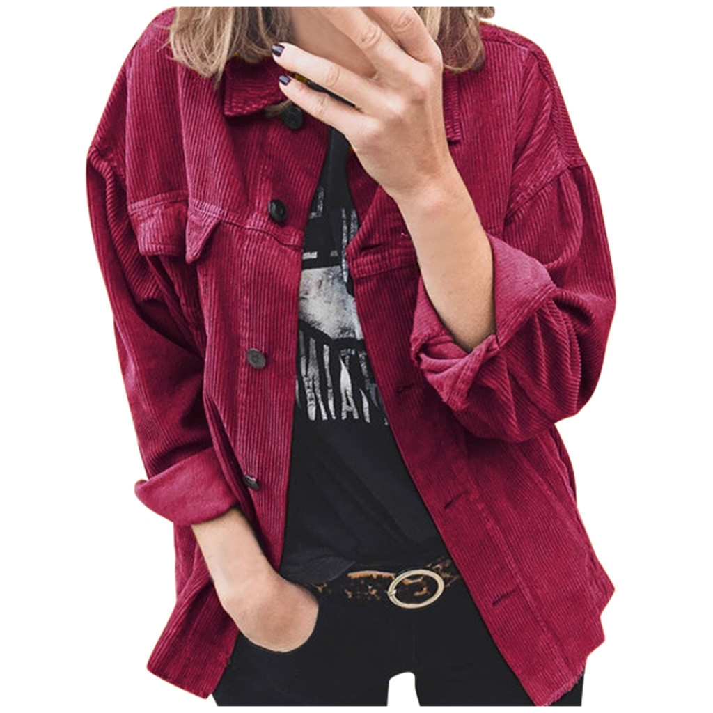 2020 new Women's Autumn And Winter Solid Button Long-sleeved Clothes Sweater Pockets Overcoats Student Loose Coat female clothes