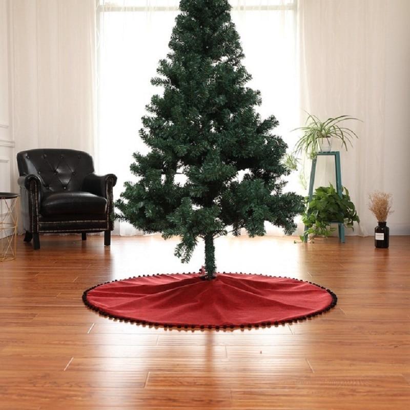 Linen Christmas Tree Skirt: Red Linen Christmas Ornament Merry Christmas Tree Xmas