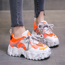 Chunky Platform Sneakers Fashion Women Shoes Orange Mesh Bre