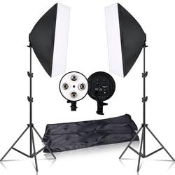Набор оборудования для студийной фотосъемки, комплект для профессиональных фотографов: 4 софтбокса 50х70 см, держатели для ламп с цоколем E27