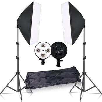 Fotografie 50x70CM verlichting vierlamps softbox kit met E27 basishouder softbox camera accessoires voor fotostudio