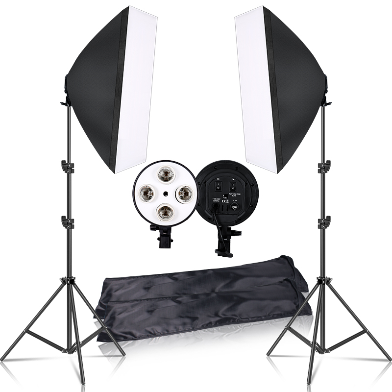 Softbox Light Box Lighting Kit 4 Lamp Photography Flash 50x70CM With E27 Base Holder Camera Feflector for Photo Video Shooting