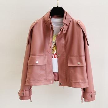 Ailegogo 2021 New Autumn Women Streetwear Pink Pu Faux Soft Leather Jacket Casual Female Motorcycle Biker Zipper Big Pocket Coat 1