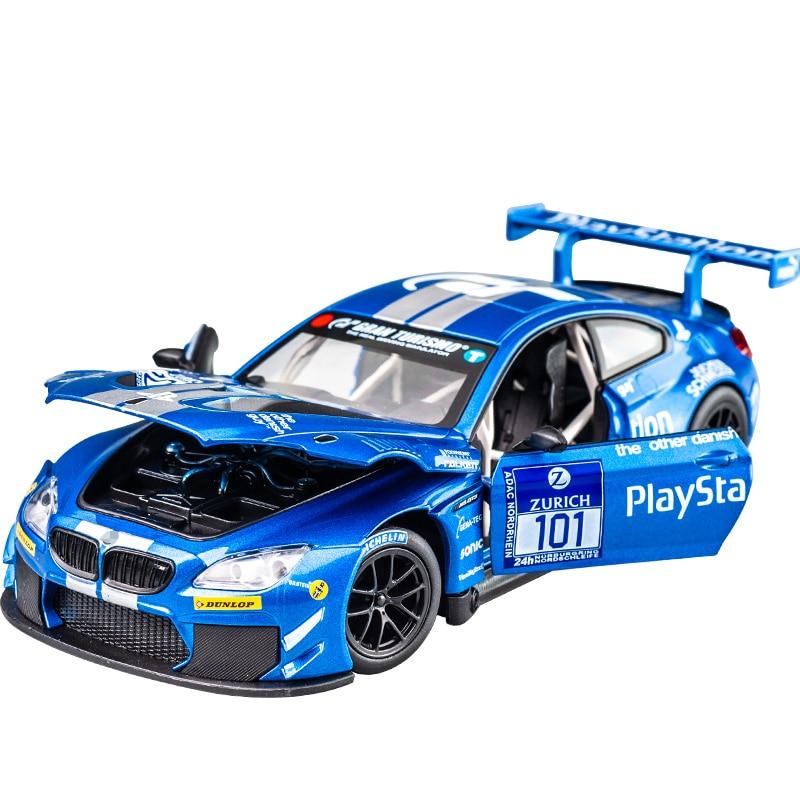 1:24 M6 GT3 M4 DTM Le Mans Racing Car Free Wheeling High Light Sport Racing Car Model Toy Diecast Metal Alloy Miniature Replica 5