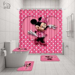 Image 2 - NYAA 4 Pcs 미니 & 미키 샤워 커튼 페데 스탈 깔개 뚜껑 화장실 매트 욕실 매트 세트 욕실 장식