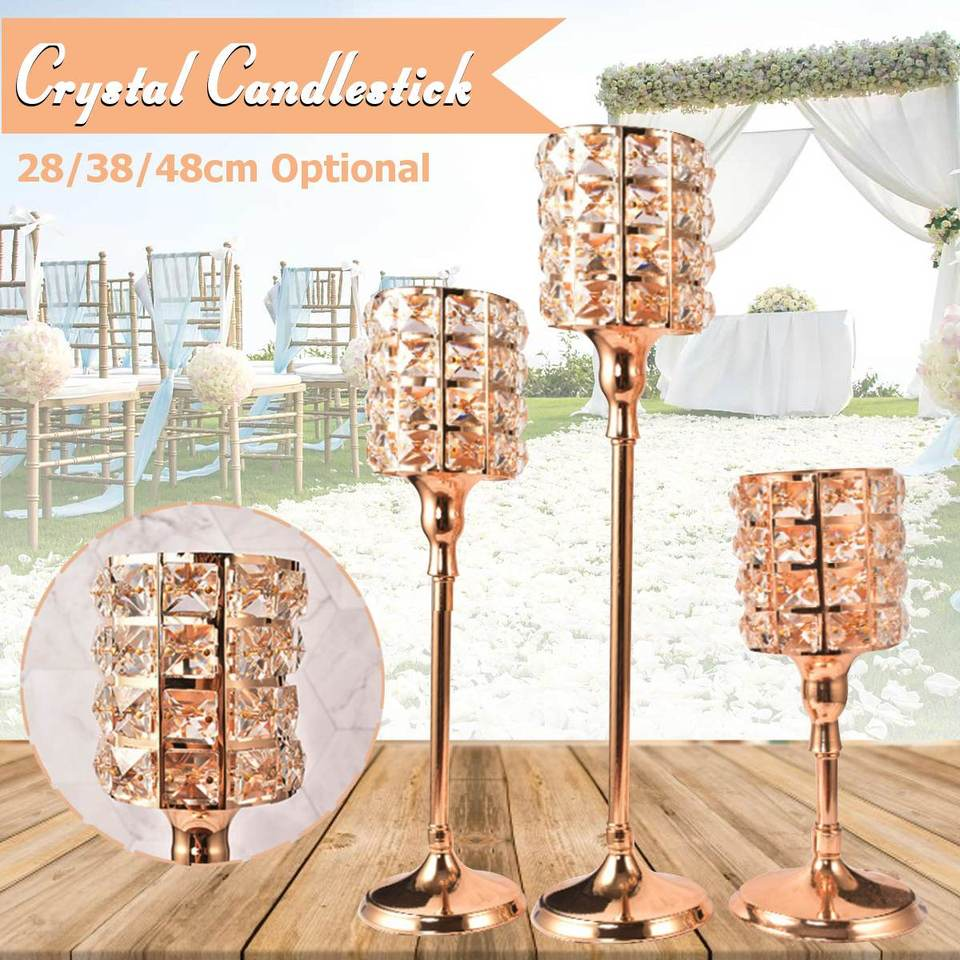 Crystal Wedding Parties Table Tealight Votive Candle Holder Candlestick 48cm