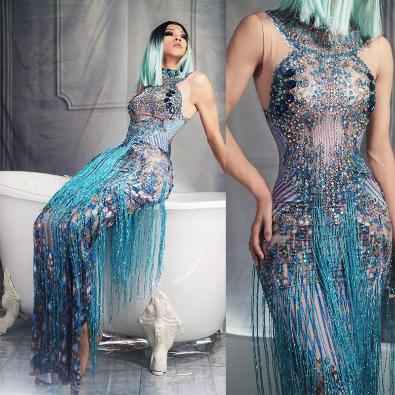 Femmes nouveau brillant bleu strass glands sans manches longue robe Sexy chanteur Performance élastique maigre robe Bar fête Costume