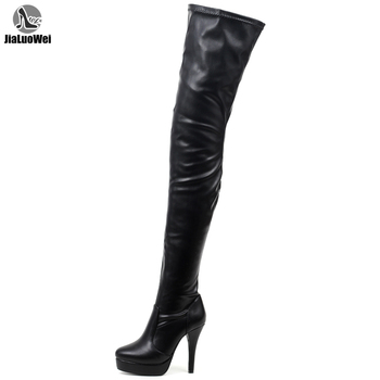JIALUOWEI Unisex Pole Dancing Round Toe Over The Knee Thigh Boots High Heel Stiletto 36-46 hot selling denim lace flower hollow out over the knee long boots thigh high stiletto heel boots platform high quality shoes