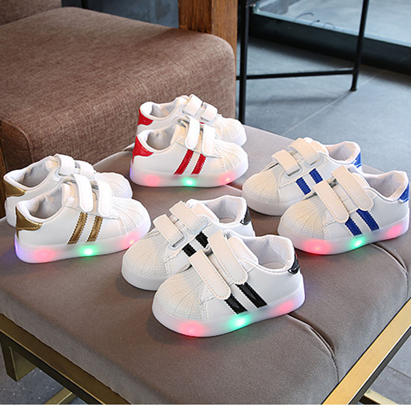 New Brand 2020 Fashion Lighted Children Casual Shoes Leisure Hook&Loop Kids Sneakers 5 Stars Infant Tennis Baby Girls Boys Shoes