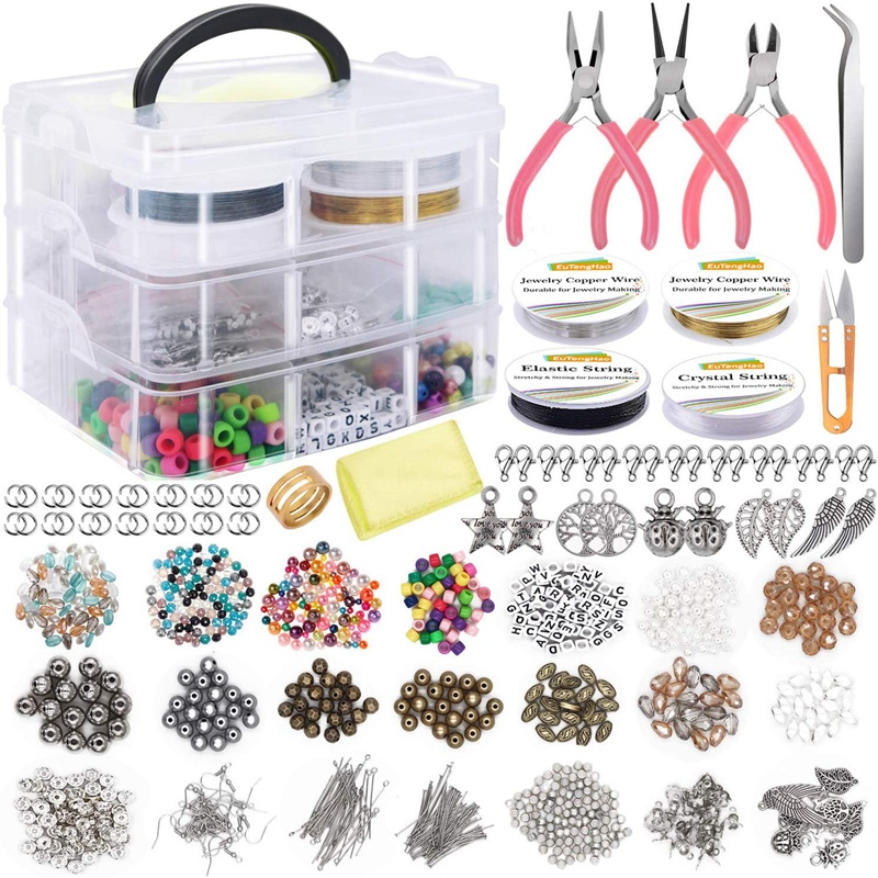 Jewelry Making Supplies Kit Jewelry Making Tools Kit Includes Beads Wire for Bracelet and Pearl Beads Spacer Beads Jewelry Plier