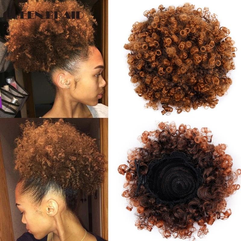 High Afro Puff Afro Curly Wig Ponytail Drawstring Short Afro Kinky Pony Tail Clip In On Synthetic Hair Bun Hair Extensions