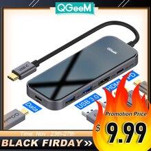 QGeeM concentrador USB C para Macbook Pro Multi USB 3,1, tipo C, 3,0, adaptador HDMI PD para iPad Pro, OTG, puerto de carga USB C