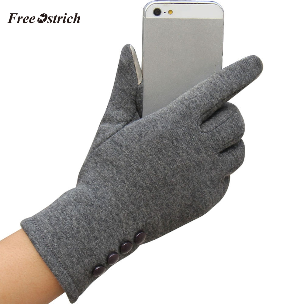 Free Ostrich Fashion Touchscreen Womens Winter Outdoor Sport Warm Gloves female gloves Mobile Phone Women Winter Warm Gloves #O
