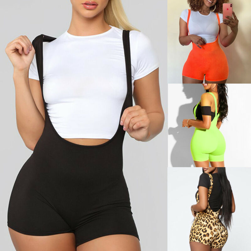 Fashion Women Stretch Straps Short Overalss Rompers Leopard Printed Casual Short Trousers Overalls Rompers Trousers