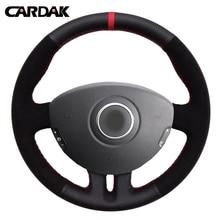 Cardak couro preto camurça vermelho marcador volante do carro capa para renault clio 3 2005-2013 clio dynamics 2008 mk 3 2010