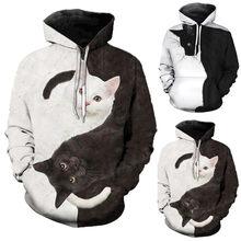 40 # bluzy dla nastoletnie dziewczyny kobiety i męskie Casual koty drukowane bluzy z kapturem z długim rękawem bluza z kapturem Худи Оверсайз Женские