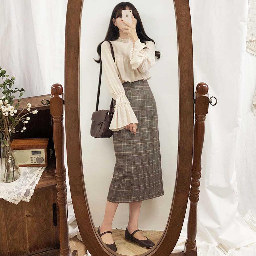 Nieuwe Plus Size Harajuku Lange Rok Vintage Plaid Rok Vrouwen Winter Hoge Taille School Meisje Geplooide Geruite Rok Vintage Lange rok
