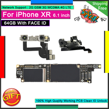 Unlocked Motherboard For IPhone XR 64GB with Face ID Good Mainboard Free iCloud Original Logic Board Working Full Function