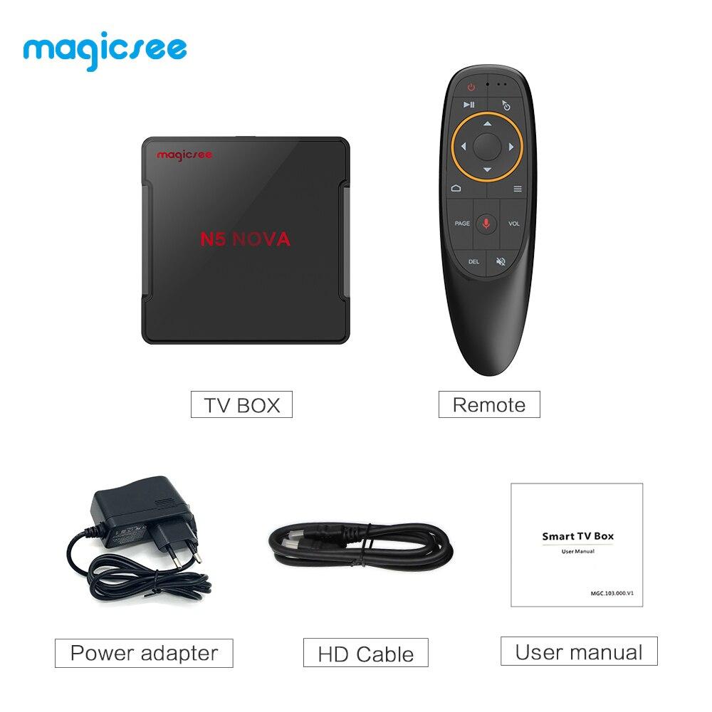 MAGICSEE N5 NOVA Android 9.0 BOÎTE de télévision RK3318 4 GO RAM 64 GO ROM 2.4GHz + WiFi 5GHz Commande Vocale Intelligente Décodeur 4K Bluetooth USB3.0 - 6