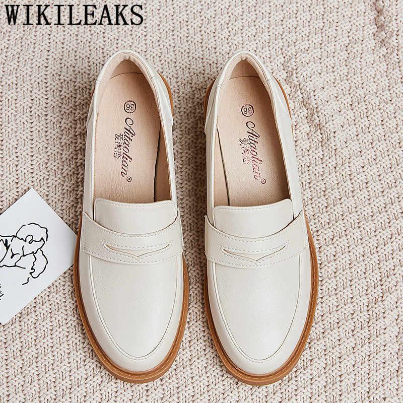 Oxford schoenen voor vrouwen 2019 hoge hakken dames schoenen tacones loafers slip op schoenen voor vrouwen lederen creepers zapatos de mujer