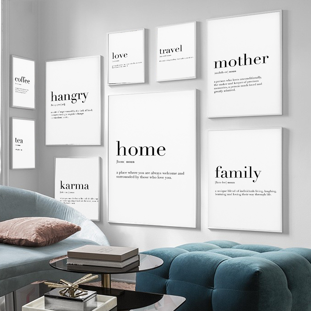 Home Mother Travel Love Family Definition Quotes Posters And Prints  Art Canvas Painting Wall Pictures For Living Room Decor