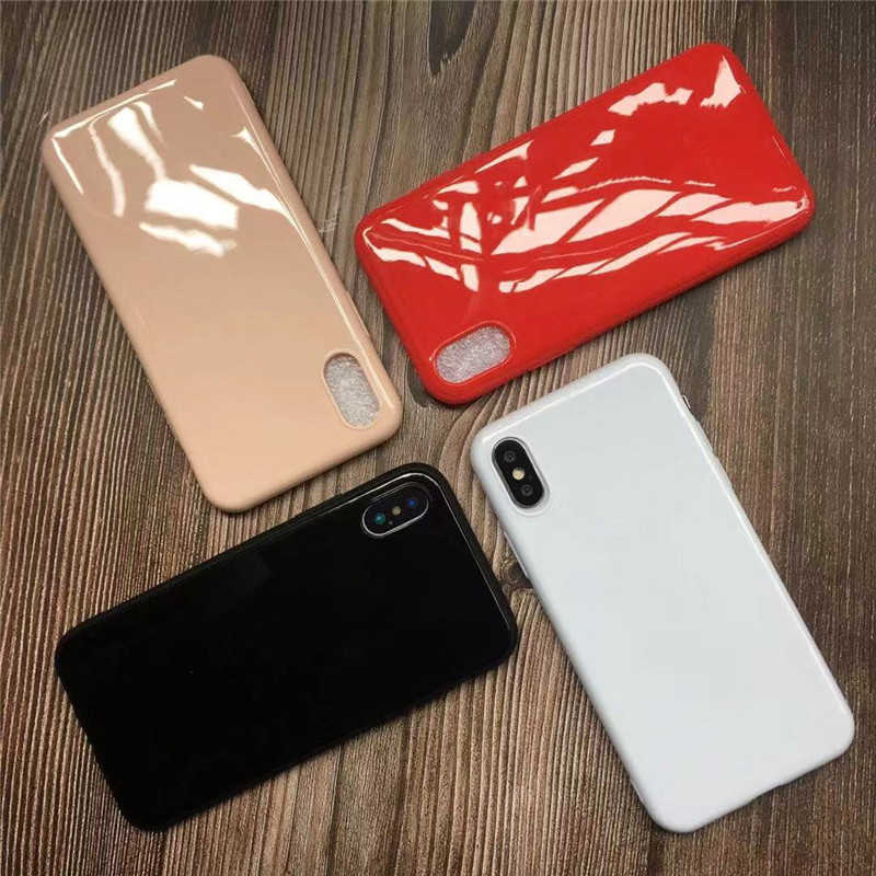 New Bright Glossy Silicone Case for Samsung Galaxy S8 S9 S10 Plus Case Note 8 9 10 Pro J4 J6 A6 A7 2018 Soft Silicone TPU Cases