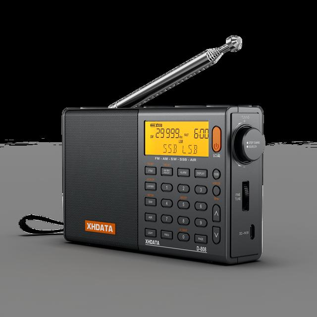 XHDATA D-808 Portable Digital Radio FM Stereo/SW/MW/LW SSB AIR RDS Multi Band Radio Speaker with LCD Display Alarm Clock  Radio 2