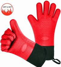 BBQ Oven Gloves Resistant Silicone Glove Heat Resistant Grill Gloves Kitchen Silicone Oven Mitts for Barbecue Cooking