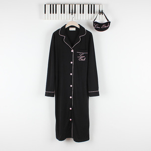 Image 3 - Autumn Womens Robes Sleepwear Cotton Long Nightgown Letter Embroidery Knitted Solid Dressing Gown Bathrobe Batas De Dormir Mujer