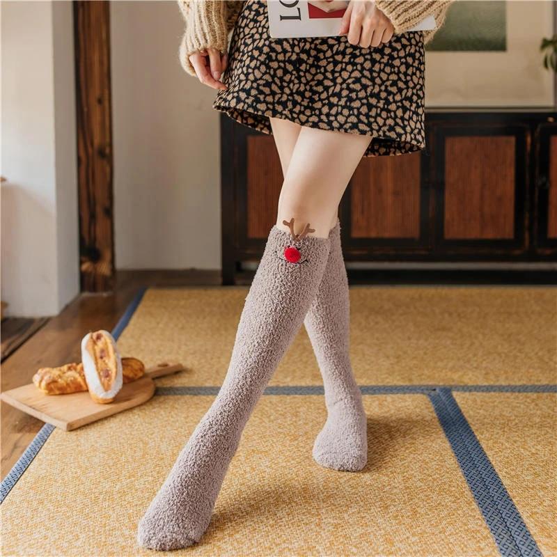 GAJSDJHN Christmas Socks Christmas Warm Socks for Woman Winter Cute Ankle Harajuku Fluffy Sheer Frilly Sock Strawberry Milk Aesthetic